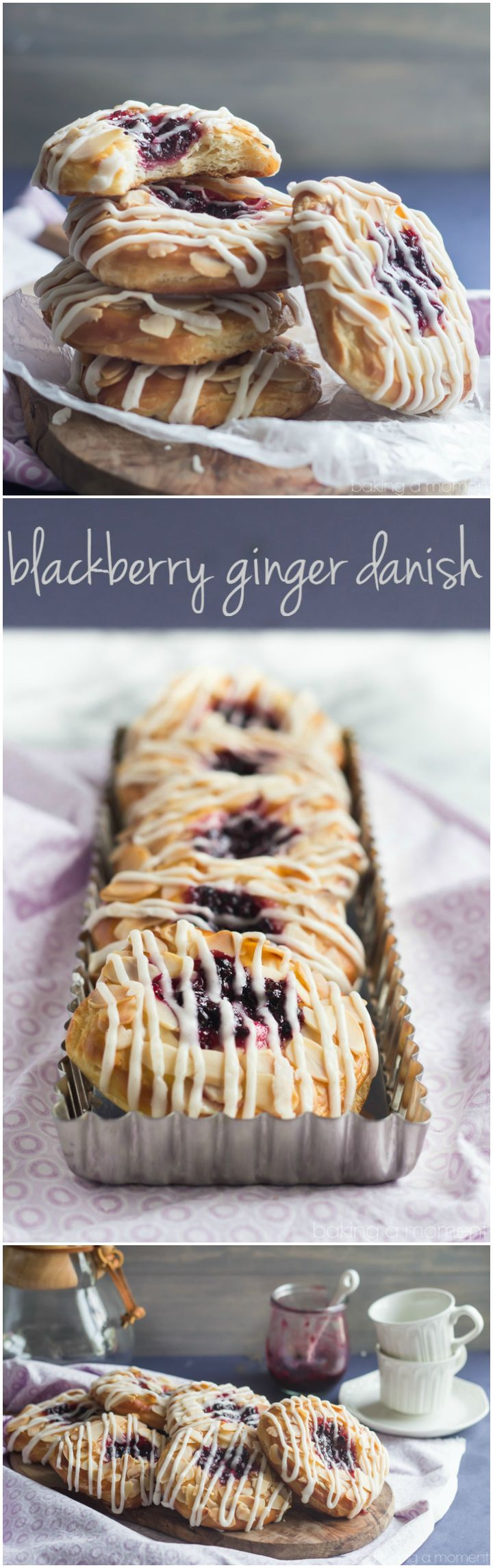 Blackberry Ginger Danish- The filling is a flavor bomb! So crazy good with that buttery pastry and then the toasted almonds and vanilla bean glaze. Definitely making these again! ~ http://bakingamoment.com