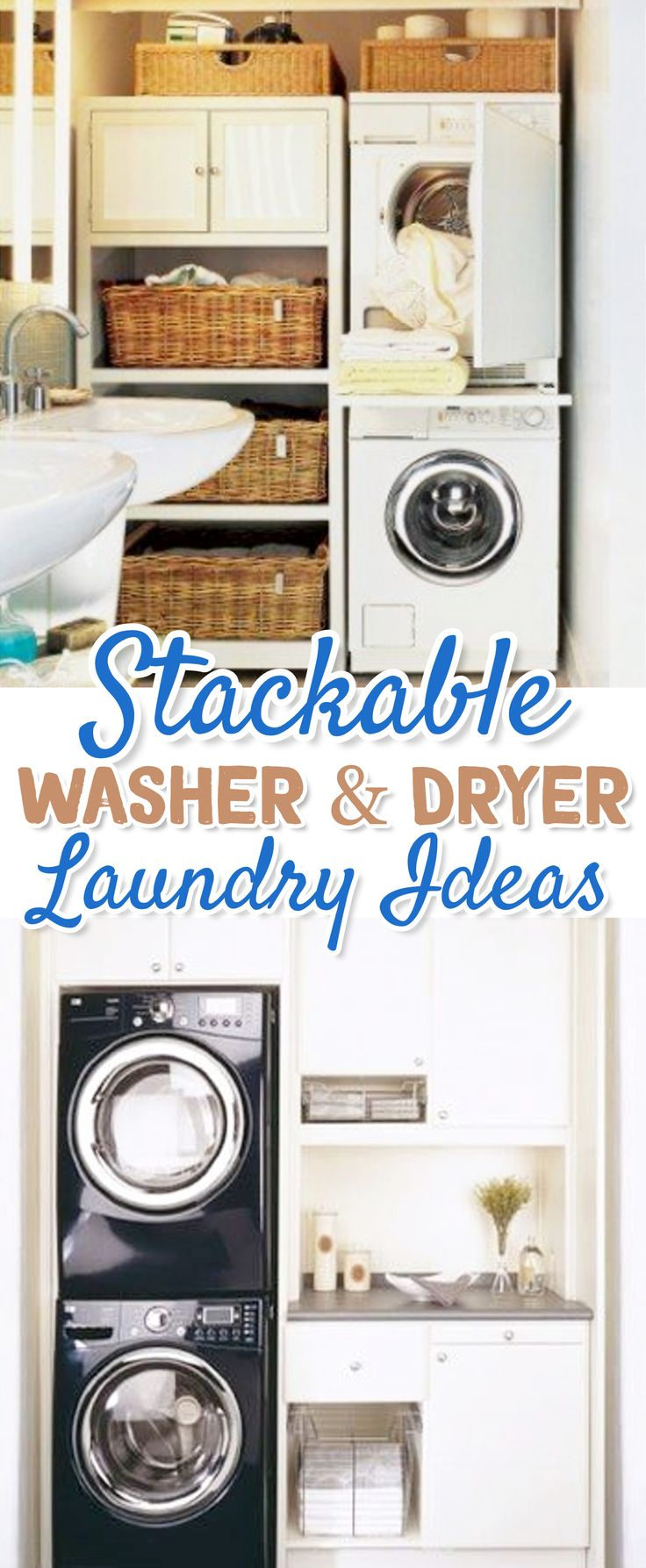small laundry room ideas - stacking washer and dryer in small laundry area