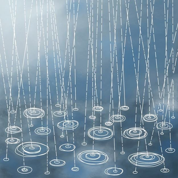 rain drops! White crayon or oil pastel on paper then paint with water colors