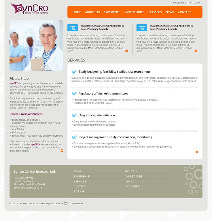 Syncrotrial.ro - Presentation web site for a Romanian drug testing company. Colorful, simple, with clear navigation. http://www.syncrotrial.ro