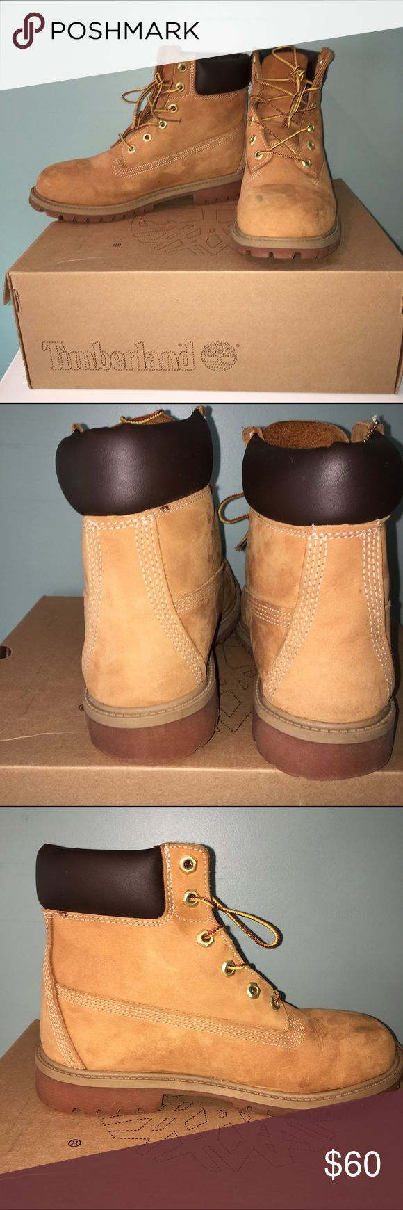 Children's Timberland Boots Size 7M Comes in original box, but box has some damage from storage - left boot has 2 black scuffs on toe (shown in pictures) - originally $95.00, price is based on flaw Timberland Shoes Boots