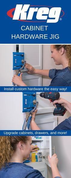 The Kreg Cabinet Hardware Jig takes the guesswork out of installing cabinet knobs and pulls. The moveable edge guide and measuring scales make it easy to position knobs precisely, while adjustable drill guides ensure straight holes for perfect knob and pull positioning every time. Perfect for new construction and for refreshing entire rooms.