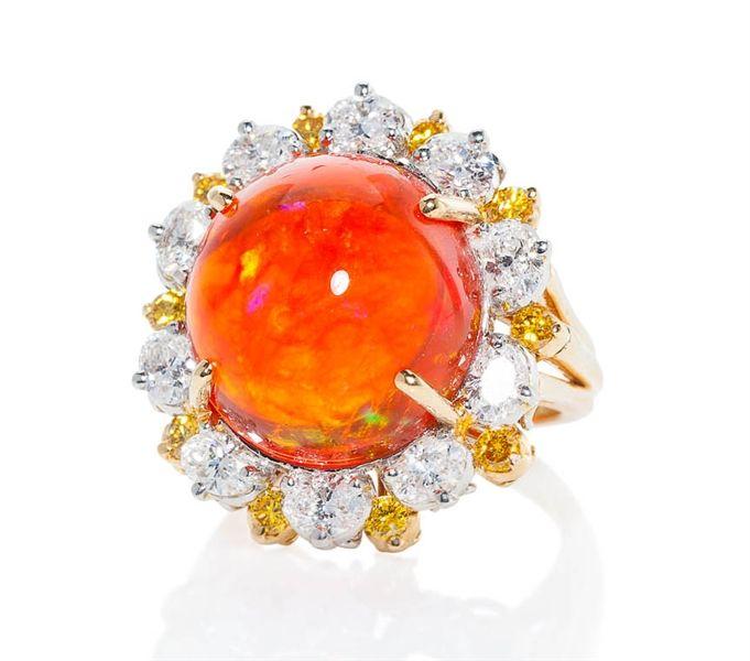 Oscar Heyman platinum fire opal and diamond ring #brittspick