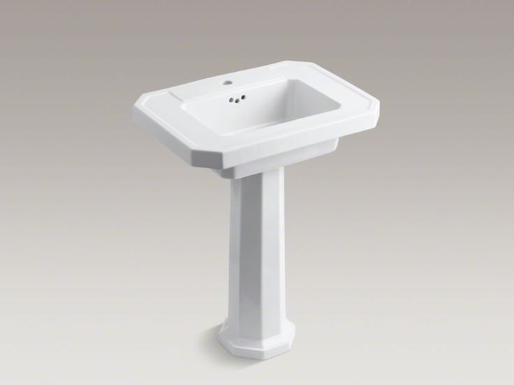 Kathryn Fireclay Basin And Pedestal With Single Faucet Hole