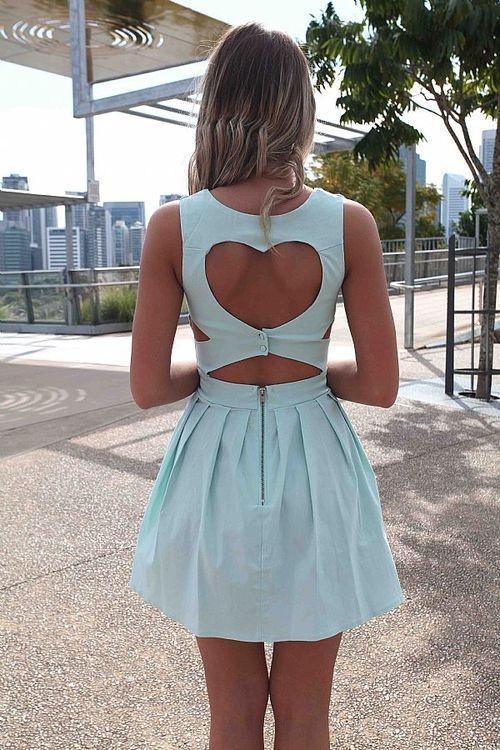 Blue heart cut out dress