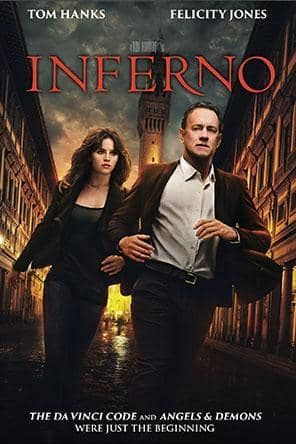 INFERNO (DVD Release Date: 1/24/17) Starring: Tom Hanks, Felicity Jones, Irrfan Khan, Ben Foster, Omar Sy -- When Robert Langdon wakes up in an Italian hospital with amnesia, he teams up with Sienna Brooks, a doctor he hopes will help him recover his memories. Together, they race across Europe and against the clock to stop a madman from unleashing a global virus that would wipe out half of the world's population.