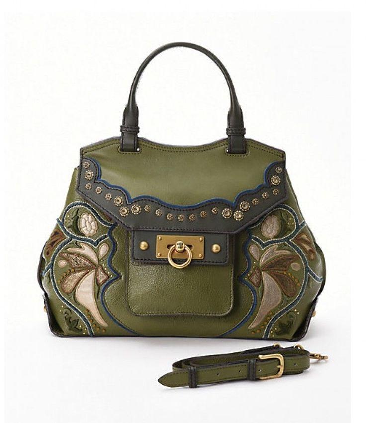 ANNA SUI Handbag Shoulder Bag Flower Patchwork Viking Runway Green Khaki Purple #ANNASUI #Bag