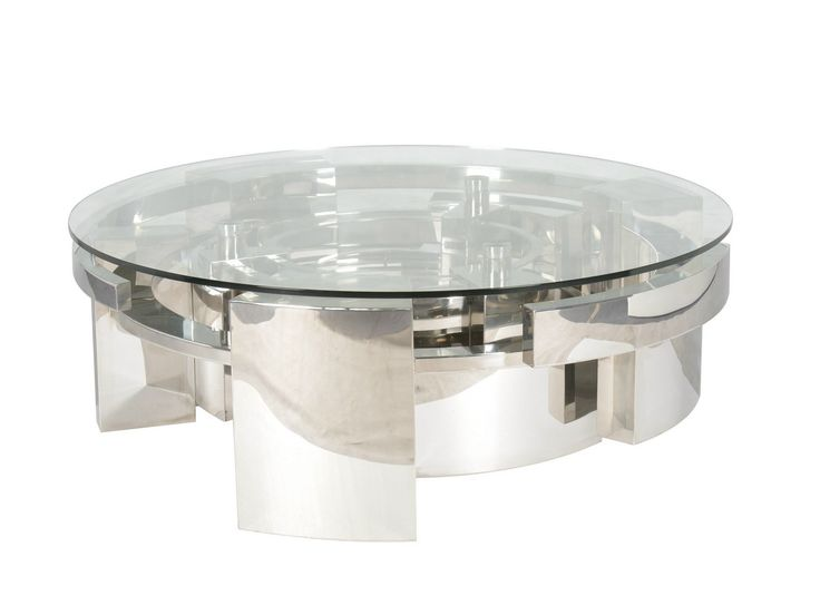 Awesome Prodotti Round Coffee Table Design Featuring Stainless Steel Unique  Shaped Base Together Clear Glass Coffee