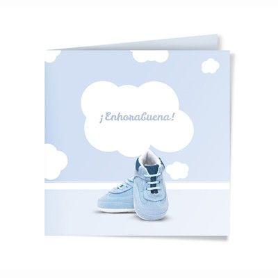 Felicitación de Nacimiento Personalizada. Modelo Nubes