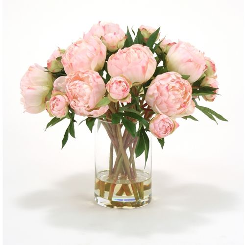 Very pretty Pink peony silk flower arrangement in glass vase and artificial water.  Free shipping.