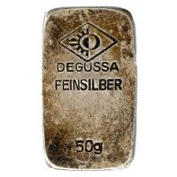 50 Gramm Silberbarren der ehemaligen Degussa AG