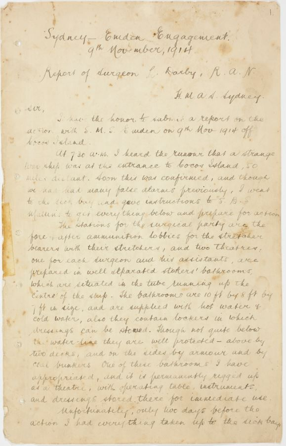 """Battle of Cocos: eyewitness account by surgeon on the HMAS Sydney. TRANSCRIPT provided - scroll to bottom of page and find link under """"File Transcript""""."""