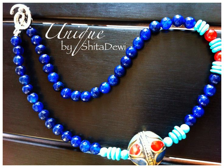 Uniquely made from Blue Agate, Afghanistan Pendant, Carnelian & Turquoise, 47cm length, code #SP-01    A very good gemstone to enhance Chakra Throat, the communication chakra   IDR 198.000 including a Batik jewelry box  Custom order : uniquely.handmade168@gmail.com