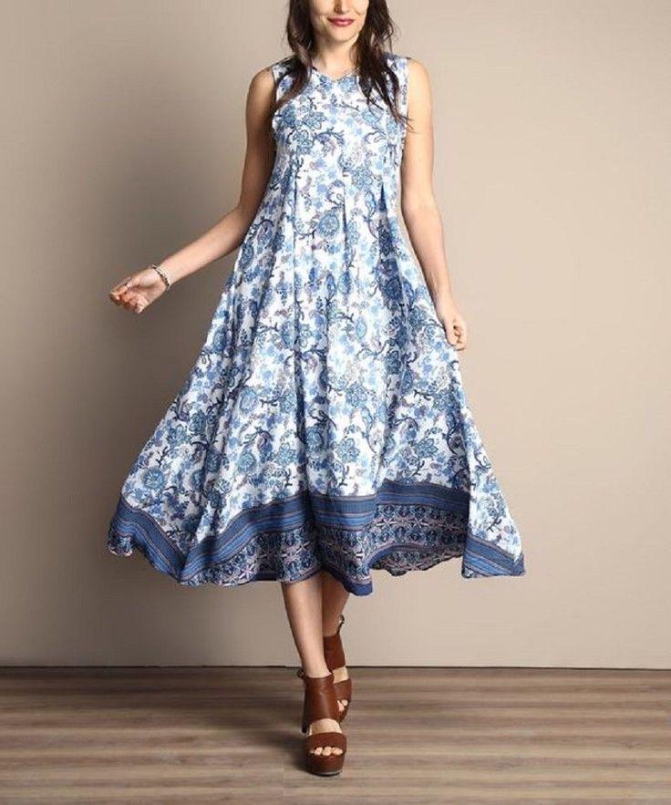 Ladies Size UK 18 Midi Dress Sleeveless Blue & White Floral Chiffon Style #879