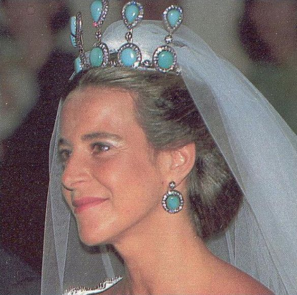 Bianca Martinez de Irujo, niece to the late Cayetana, Duquesa de Alba, wearing an amazingly large turquoise tiara of five high pinnacles of pear-shaped and circular turquoise when she wed Francisco Rivera
