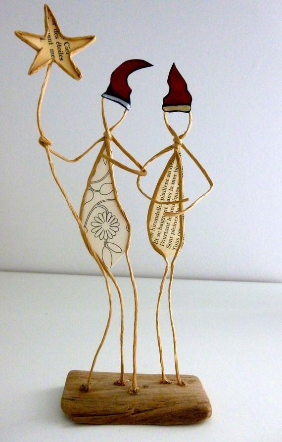 Lutins de Noël - figurines en ficelle et papier