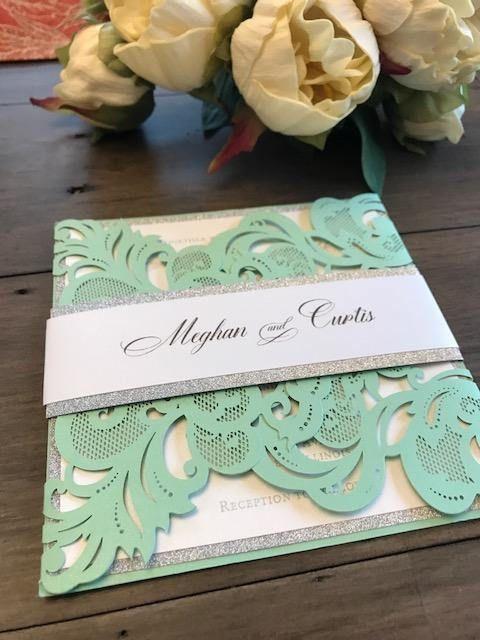 customize green laser cut wedding invitation; doily invitation
