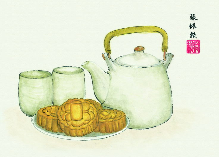 #ChineseArt #MoonCake #Teapot #Painting