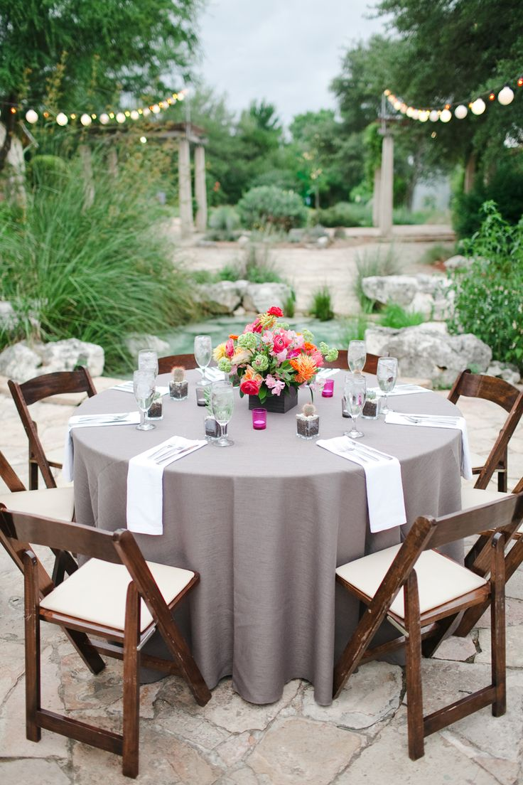 gray linens at reception wedding table