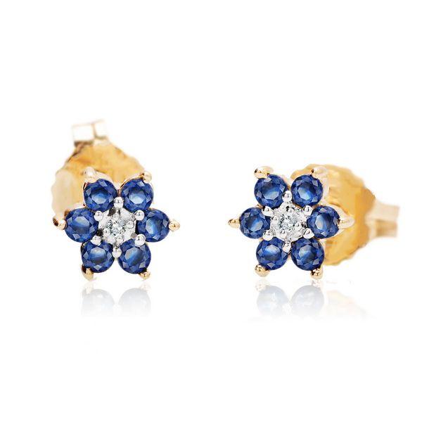 Kolczyki złote z brylantami i szafirami - Biżuteria srebrna dla każdego tania w sklepie internetowym Silvea