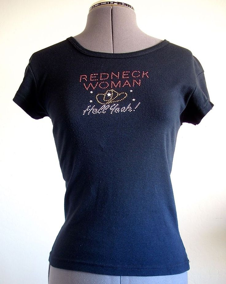 Redneck Woman Hell Yeah! cowboy hat sparkly t-shirt Small Made in U.S.A. #Jensen #EmbellishedTee