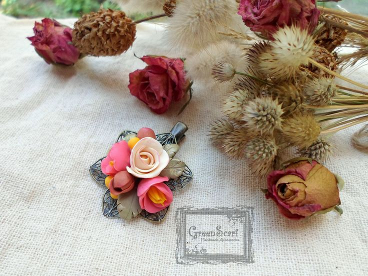 polymer clay autimn roses