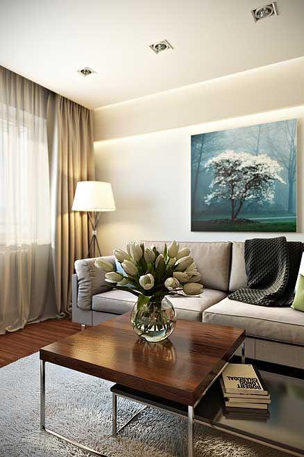 Продуманный интерьер 2-х комнатной квартиры 45 кв. м. в современном стиле привел к созданию красивого и комфортного жилья. Минималистское направление отделки позволило избавиться от ненужных предметов мебели, аксессуаров, изобилия отделочных элементов и получить достаточно просторные помещения. Гостиная Нежно-кремовые, практически белые стены визуально раздвигают пространство, делают интерьер 2 комнатной квартиры 45 кв. м. светлым и эффектным. … … Читать далее →