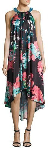 Aidan Mattox Sleeveless Floral-Print High-Low Cocktail Dress