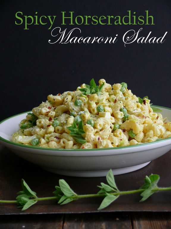 Spicy Horseradish Macaroni Salad. I would make some changes, but i loove horseradish. Genius!