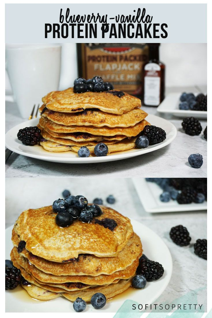 High-protein and highly delicious protein pancakes using Kodiak Cake Mix!  http://www.sofitsopretty.com/blueberry-vanilla-protein-pancakes/  IG: @AlexMarieFit