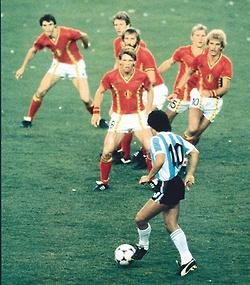 Legendary Diego Maradona vs. Belgium, 1982.