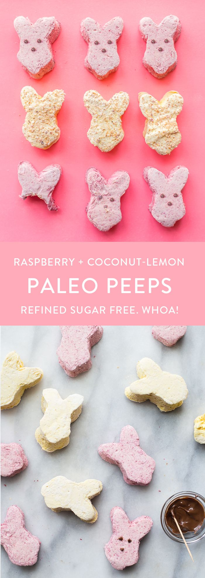 These paleo peeps are the perfect paleo Easter candy. Made from homemade raspberry paleo marshmallows and toasted coconut lemon paleo marshmallows, you'll be shocked at how similar they are to the traditional treat, but made only with healthy ingredients. A paleo Easter staple! Or cut them into cubes for an anytime paleo dessert.