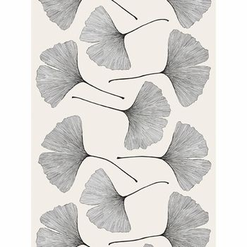 Marimekko Ginkgo Grey/Black Cotton Sateen Fabric  - Click to enlarge