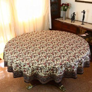 This Is A 70 Inch Diameter Round Tablecloth In Good Quality 200 Thread  Count Cotton Fabric