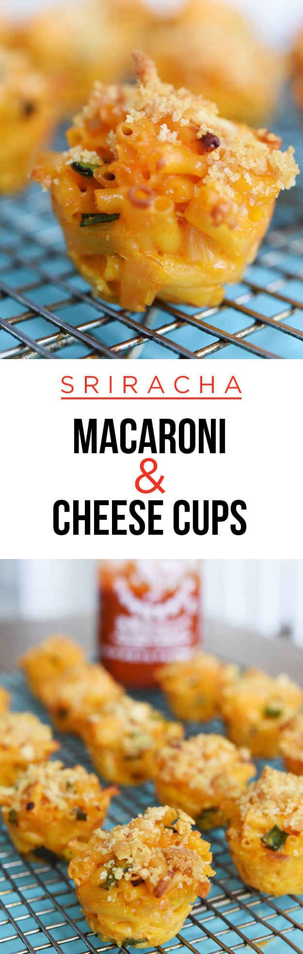 This would be a great super bowl snack! Sriracha Macaroni And Cheese Cups In A Muffin Tin