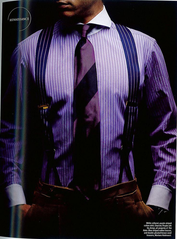 Purple men's striped shirt purple tie.
