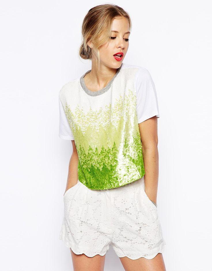 ASOS Ombre T-shirt in Sequins