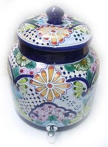 A talavera yellow flowers water crock is part of Rustica House Mexican tableware collection. This water crock model has been traditional in yellow and green over blue background.  #myRustica