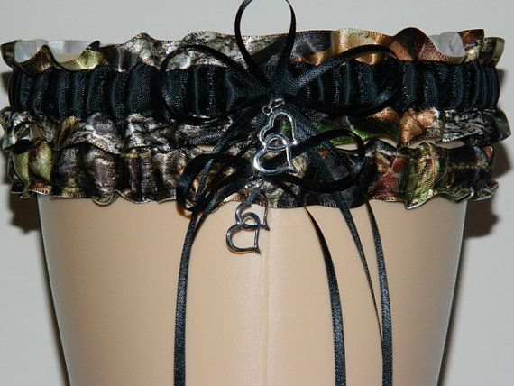 Mossy Oak Black Camouflage Wedding Garter Set Bridal Camo Keepsake