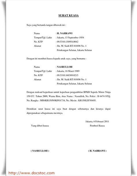 Contoh Surat Kuasa Pengambilan Bpkb Motor Di Wom Finance Contoh