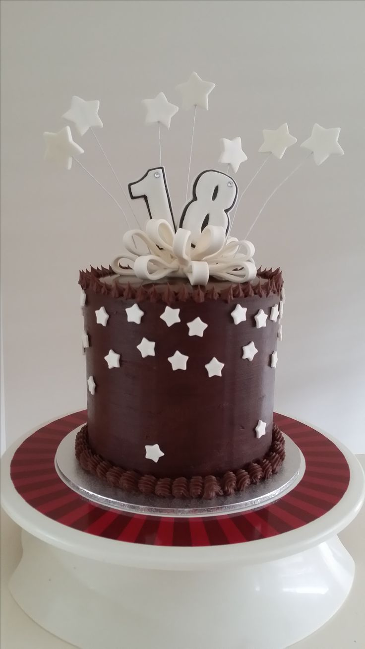 Chocolate mud cake with dark chocolate ganache and glaze on top. Decorated with fondant ribbon, numbers and stars all dusted with pearl shimmer. www.facebook.com/cakesbyleannerhodes
