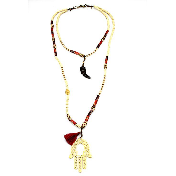 Summer boho chic necklace,  Hamsa hand pendant necklace