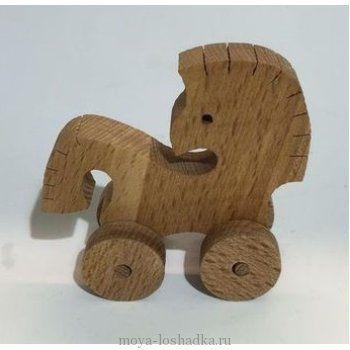 """Каталка """"Конёк"""" из дерева"""