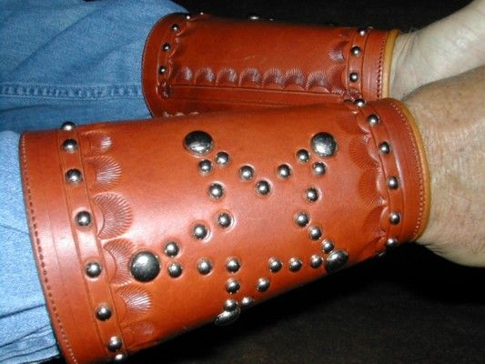 Star Leather Cuffs - Authentic custom handgun grips, holsters, spurs, clothes, 1800s and 1900s cowboy gear, and much more