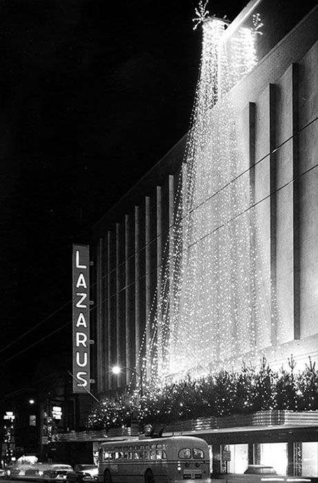 The exterior decorations at Lazarus's department store in Columbus, Ohio, during the 1950s. Image via ohiohistory.org.