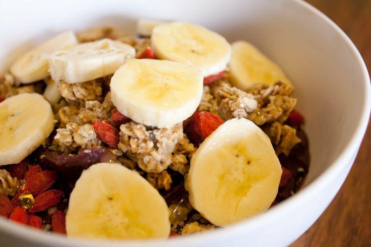 Acai Bowl, acai sorbet with bananas, GF granola, raw honey, and your choice of toppings