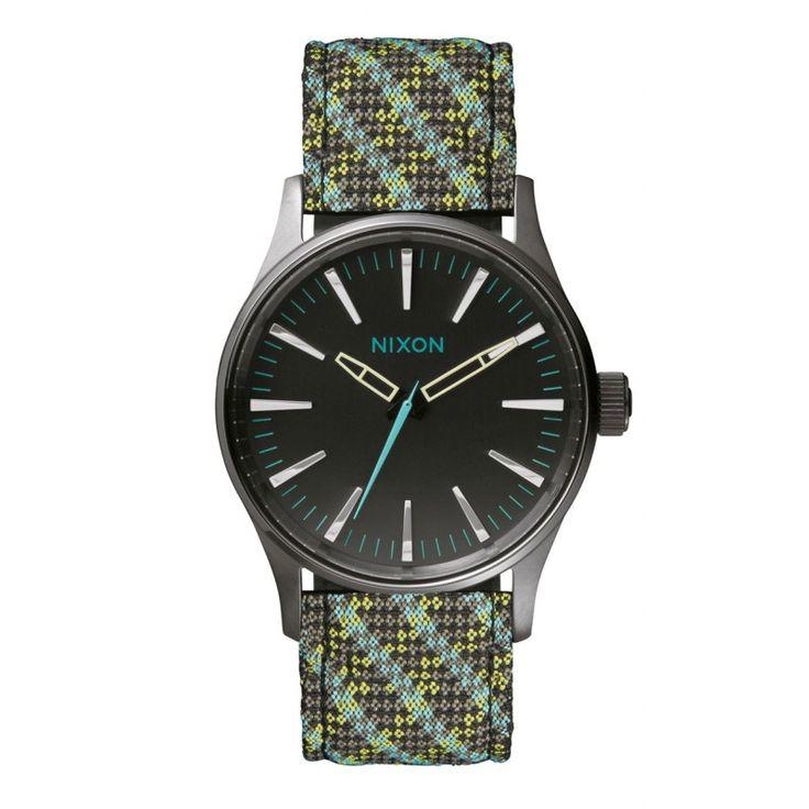 Reloj Nixon Sentry 38 Leather Gun/Green/Blue