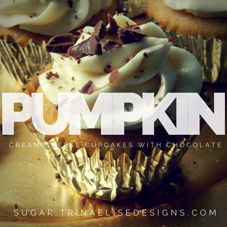 If you love the smell of pumpkin pie then you'll swoon for these Pumpkin Cream Cheese Cupcakes with a touch of chocolate!  Read more and get the recipes for the cupcakes and cream cheese buttercream frosting at http://sugar.trinaelisedesigns.com/pumpkin-cream-cheese-cupcakes-with-chocolate-flakes-2/  #sugar. #pumpkincreamcheesecupcakes #pumpkincupcakes