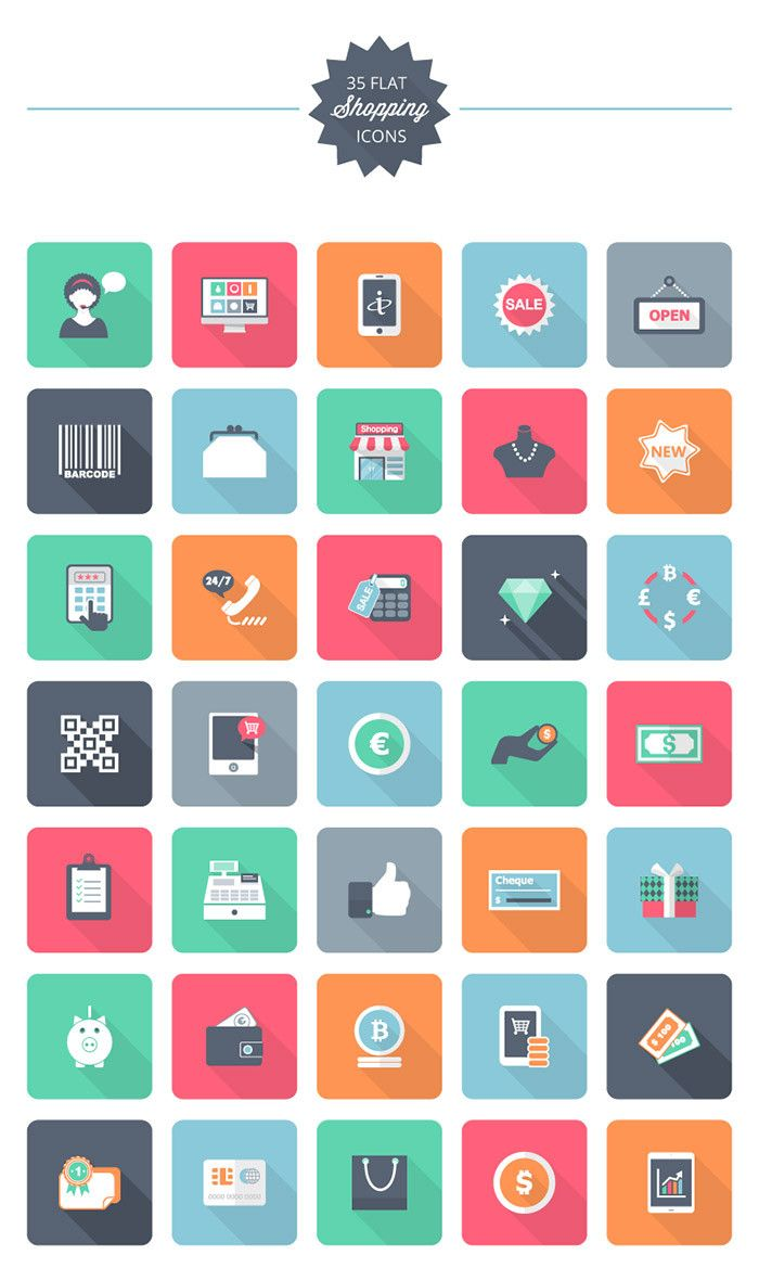Psd Vector Eps Jpg Download: Flat Shopping Icon Pack: 35 Free Shopping Icons, #AI, #EPS