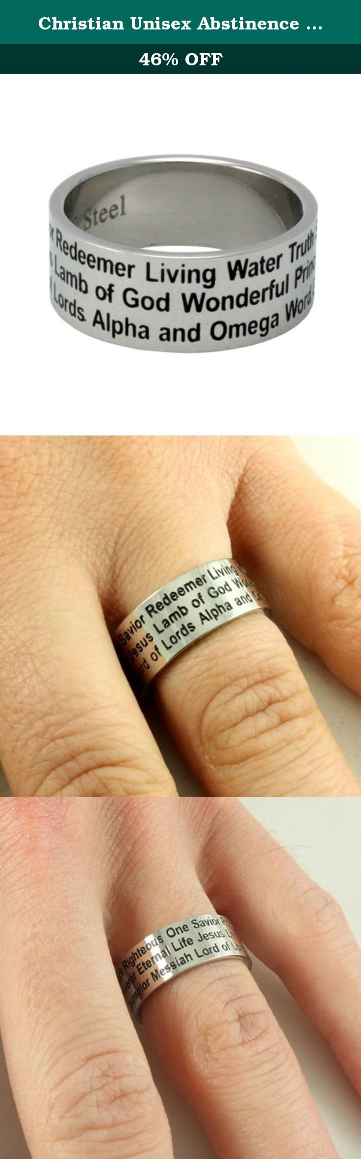Christian Unisex Abstinence Stainless Steel 8mm Names of Jesus Ring - Righteous One, Savior, Redeemer, Eternal Life, Lamb of God, Messiah, Lord of Lords, Living Water, Wonderful, Alpha & Omega, Prince of Peace - Purity Ring for Guys & Girls, Size 6. STAINLESS STEEL NAMES OF JESUS RING STYLE 324-SIZE 6.